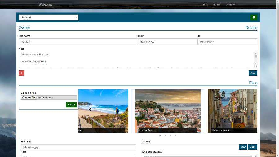 Save images, reservations, locations and files to take with you